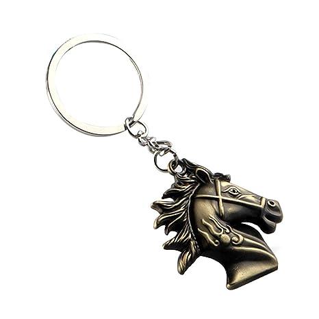 Kentop - Llavero de acero inoxidable con cabeza de caballo ...