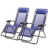 New Zero Gravity Chairs Case Of 2 Lounge Patio Chairs Outdoor Yard Beach O62 - Blue