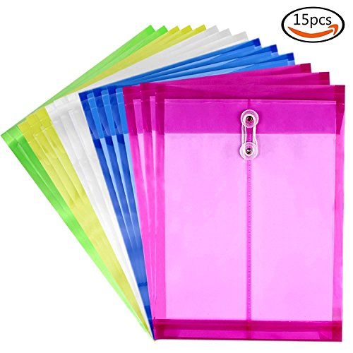 (Moep Poly String Project Envelope with Expandable Gusset, A4 Size, Set of 15 Mix Colors, Water/tear Resistant-translucent)