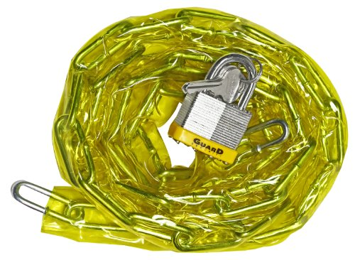 Guard Security 762 Vinyl Covered Hardened Steel Chain with 740 Padlock, 6-Feet x 3/16-Inch (Colors may vary)