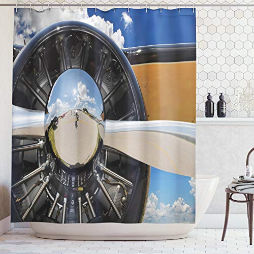 Airplane Shower Curtain by Ambesonne, Propeller and Engine of Airplane Clouds Flight Historic Bird Transportation Theme, Fabric Bathroom Decor Set with Hooks, 70 Inches, - Propeller Flight