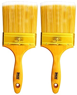 "4"" Wide Bristle Brush For House Painting, Varnish Or Lacquer With Wooden Handle : ( Pack of 2 Brushes )"