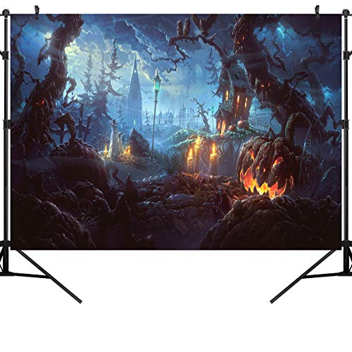 Halloween Horror Nights Backgrounds (OUYIDA 7X5FT Halloween Theme Horror Pumpkin Night Pictorial Cloth Photography Background Computer-Printed Vinyl Backdrop Photo Studio Prop)