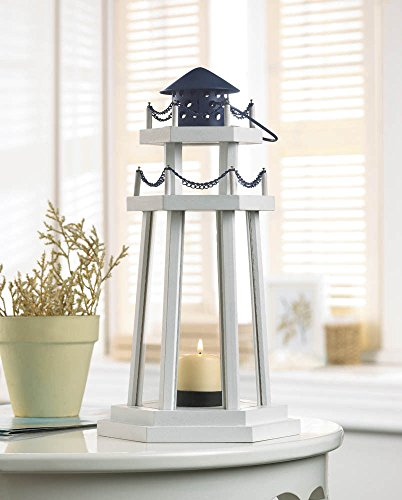 - White Wood Lighthouse Votive Candle Holder Lantern W Glass Panels-Nautical Decor