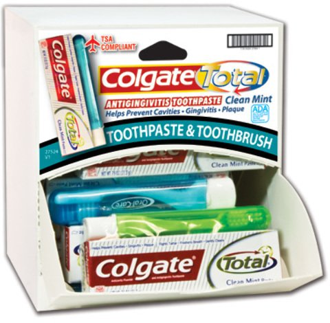 Colgate Travel Toothpaste and Brush Combo Dispensit Case 144 pcs sku# 1865431MA by DDI