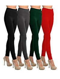 VIV Collection Women's Solid High Waisted Fleece Leggings for Fall/Winter