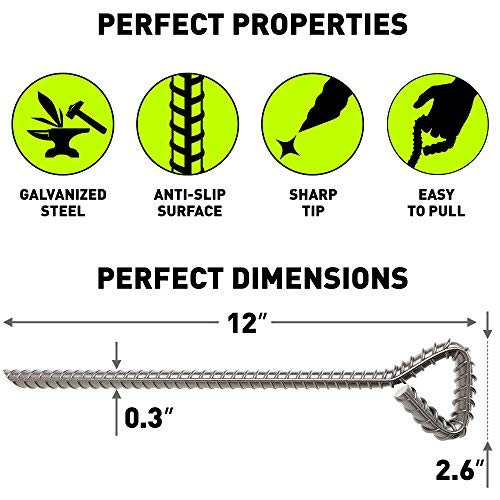 Extra Strong Tent Pegs on Amazon -12 inch Galvanized Tent Stakes Heavy Duty - Steel Stakes for Sand Camping Wedding Mountains