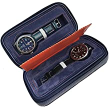 Riun Ex Blue Leather Watch Storage Box - Dual Watch Holder And Organizer - Great Travel Case Display For Your Luxury Watches.