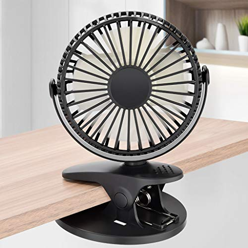 2019 New USB Portable Clip Fan,360° Up and Down 4 Speed Rechargeable Battery Clipped Quiet Fan for Outdoor/Indoor Baby Car Travel Office Camping Library Bed Office Student Dormitory (Black)