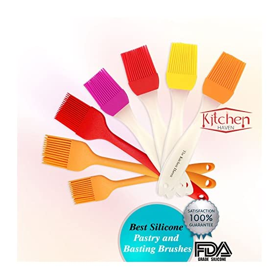 Kitchen Haven Silicone Pastry Basting Grill Oil Brush Set of 2, 8 inch, Red and Orange 1 DURABLE FDA food grade silicon brushes and basters, safe for use by professional and home cooks, easy to clean FLEXIBLE bristles handles heat to 480 degF, glides easily on food, does not shed bits in food, or clump together to retain smells VERSATILE silicone brushes, 8.25-in long x 1.3-in wide removable head, are great basters for bbq, barbecue, baking, cooking, food decorating or kids craft