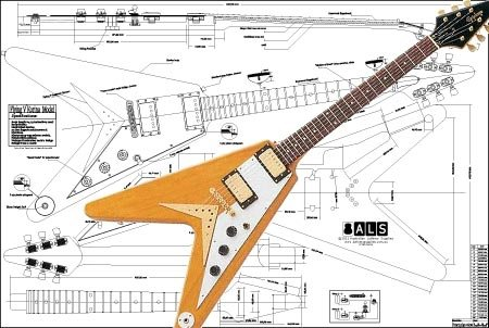 Plan of Gibson Flying V Korina Electric Guitar - Full Scale - Body Korina
