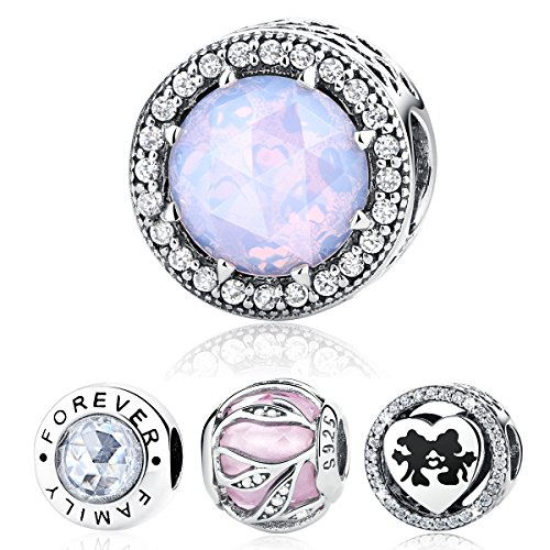 WOSTU 925 Sterling Silver Bead Charms Opalescent Pink Crystal Radiant Hearts Charms fit Charm Bracelets