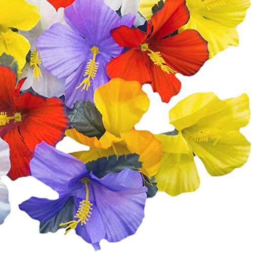 Adorox Hawaiian Luau Artificial Hibiscus Tropical Flower Petals Scatter Tabletop Decoration Wedding Confetti Party Favor (24 Pcs)