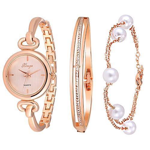 Xinge Women's Crystal Bangle Watch Set and Pearl Bracelet Rose Gold Tone 590 (Rose - Set Pearl Watch