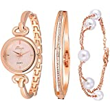 Xinge Women's Crystal Bangle Watch Set and Pearl Bracelet Rose Gold Tone 590 (Rose Gold)