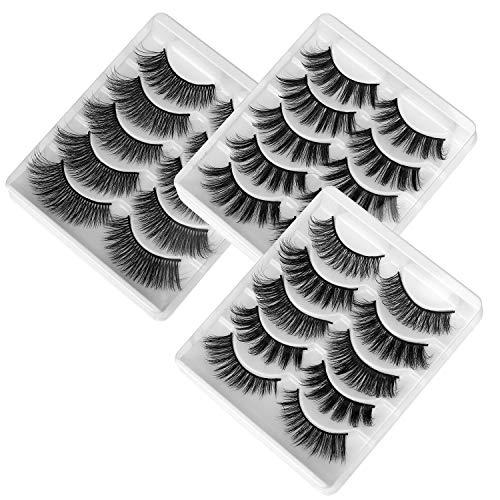 Pestanas Postizas de Pelo Artificial 3D Mixtas 15 Pares Multipack, Tiras Completas, Natural Pestanas Falsa Largas Gruesas Maquillaje de Ojos para Fiesta de Boda, 5 Estilos