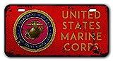 zaeshe3536658 Marine Corps License Plate Cover Designed Decorative Metal Car License Plate Auto Tag 2 Holes