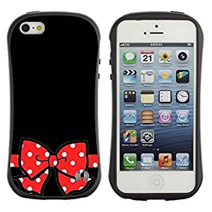 LASTONE PHONE CASE / Suave Silicona Caso Carcasa de Caucho Funda para Apple Iphone 5 / 5S / Black Polka Dot Red Bow Gift