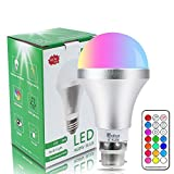 Colour Changing Bulb B22 10W Dimmable, RGBW LED Light Bulbs Mood Lighting with 21key Remote Control,Dual Memory Function,12 Color Choices for Home Decoration Bar Party KTV Stage Effe