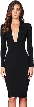 Maketina Women Deep V Neck Long Sleeve Midi Evening Party Bandage Bodycon Dress