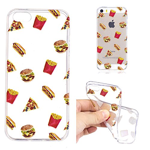 iPhone 5 5S SE Custodia , Leiai Moda Cibo Silicone Morbido TPU Cover Case Custodia per Apple iPhone 5 5S SE