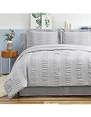 Bedsure Grey Comforter Set Full/Queen Size 8 Pieces Bed in A Bag Stripes Seersucker Soft Lightweight Down Alternative Bedding Set 88x88 inch