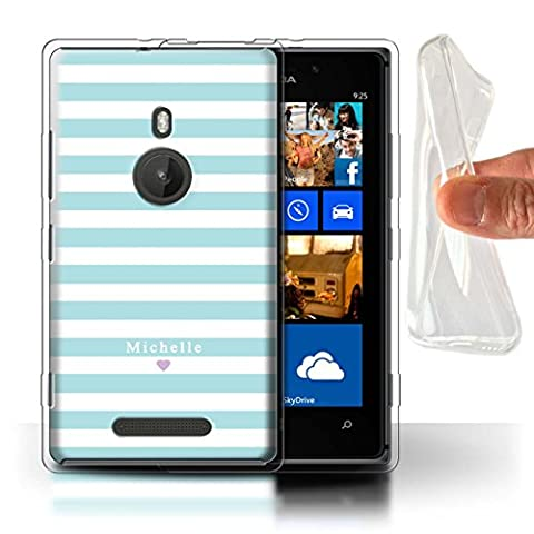Personalized Custom Stripes/Striped Gel/TPU Case for Nokia Lumia 925 / Blue Stripe Heart Design / Initial/Name/Text DIY (Nokia Lumia 925 Gel Cases Blue)