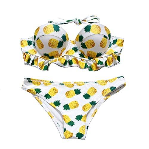 KUWOMINI.European Y América Del Loto De La Hoja De Piña Bikini Traje De Baño Femenino Del Traje De Baño Del Bikini WhiteYellow