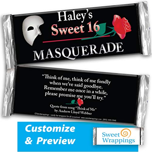 (Personalized Candy Bar Wrappers | Sweet Sixteen, Gift, Birthday | Masquerade Birthday | Party Favor, Personalized, Custom | (36 Wrapper Kit), Fits Hershey's 1.55oz Chocolate Candy)
