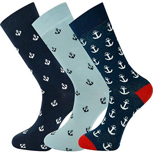 Mysocks Mens Multi Design Crew Socks 3 Pairs Anchor by MySocks