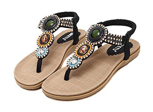 Chaussures Perles Fendu String Plates Femmes Aisun Noir Orteil Plage Flip Flop Sandales Boho BtwdqzxnqP