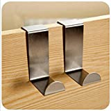 KitMax (TM) Pack of 6 S Shaped Brushed Stainless Steel Reversible Over Door Kitchen Cabinet Unit Draw Cloth Towel Bag Hanger Hook Space Saving Organizer Latch Hook Kits