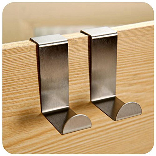 Homanda® Pack of 10 Stainless Steel Over-The-Door Hook for Kitchen Cabinet Unit Draw Cloth Towel Bag Hanger Space Saving durable modeling