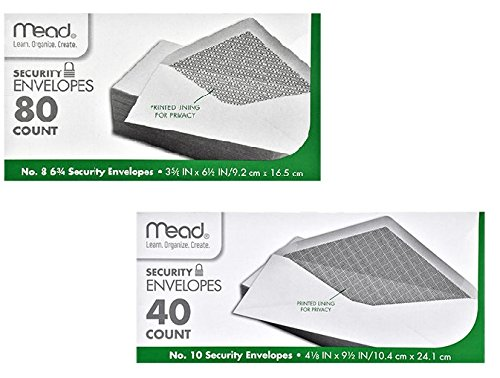 Mead #8 Envelopes (80) and #10 Long Envelopes (40) with Security Printed ()