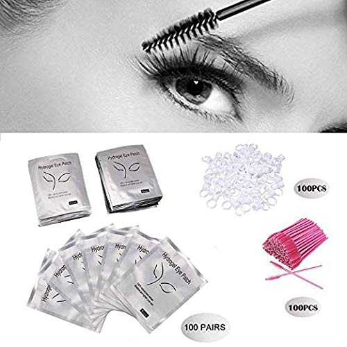3x100 Packs- Under Eye Pads Lint Free Lash Extension Eye Gel Patches & Eyelash Mascara Brushes Wands Applicator Makeup Brush & Nail Art Tattoo Glue Rings Holder Eyelash Extension Rings Beauty Tools