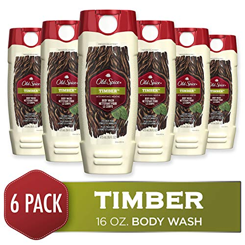 (Old Spice Fresher Collection Men's Body Wash, Timber, 16 Fluid Ounce (Pack of 6) )