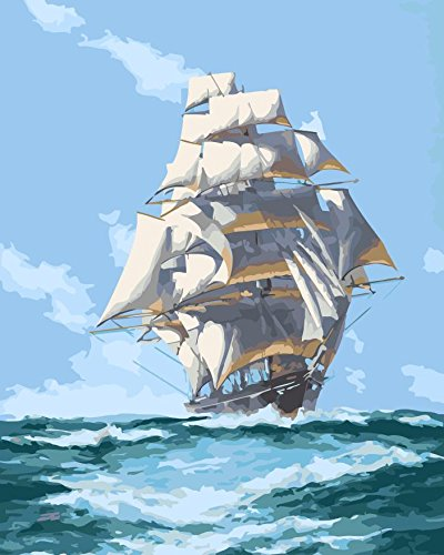 Paint by Numbers Diy Painting,Paint by Number Kit fj00013-landscape Sailboat Wooden Framed 16