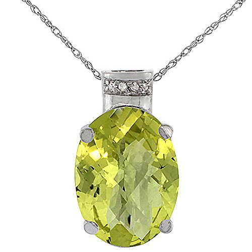 Or blanc 9carats Pendentif Quartz Citron Naturel ovale 14x 10mm et Accents de diamant
