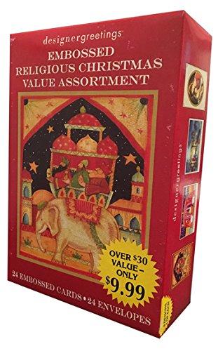 Embossed Religious Value Assortment - Designer Greetings Box of 24 Religious Christmas - Embossed Christmas Card