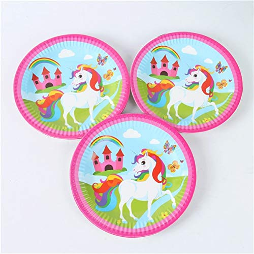 VT BigHome 10pcs 7inch Unicorn Party Decoration 1st Birthday Party Supplies Cake Dish Disposable Paper Plates Baby Shower Favors Boys Girls -