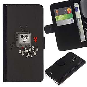 EJOY---Tirón de la caja Cartera de cuero con ranuras para tarjetas / Samsung Galaxy S4 Mini i9190 / --Divertido Oldschool Ratón de la historieta