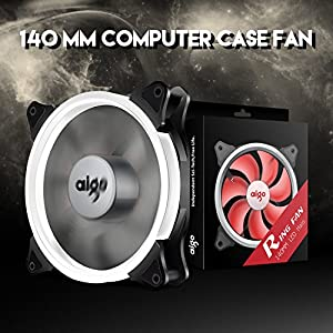 Aigo Halo Ring Fan 140mm Case Fan Quiet Edition High Airflow Adjustable Color LED Case Fan for PC Cases, CPU Coolers,Radiators 4 Pin/3 Pin (140mm, 2 Pack White)
