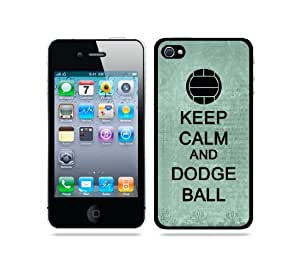 Keep Calm And Dodge Ball Teal Floral - Protective Designer BLACK Case - Fits Apple iPhone 4 / 4S / 4G