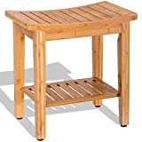 Bamboo Shower Seat Spa Stool 18'' Bench w/Storage Shelf Bathroom Furniture MD Group