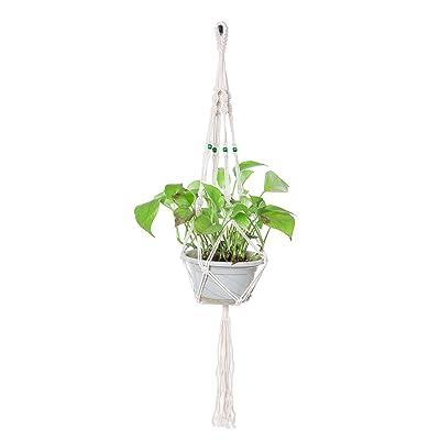 "THY COLLECTIBLES Hand-Weaved Macrame Plant Hanger Indoor Outdoor Hanging Planter Basket Cotton Rope 4 Legs Beaded Creamy White (40"" Length): Garden & Outdoor"
