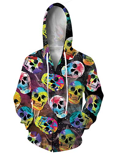 - RAISEVERN Women's Full Zip Sweatshirt Drawstring Hoodies Jacket Lifelike Colorful Cartoon Skull Sportswear Hipster Pullover Shirt