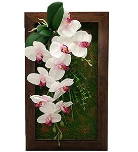 3D Picture Frames Artificial Flowers Silk Orchid Arrangement Wall Hanger Art Table Top DecorationWhite