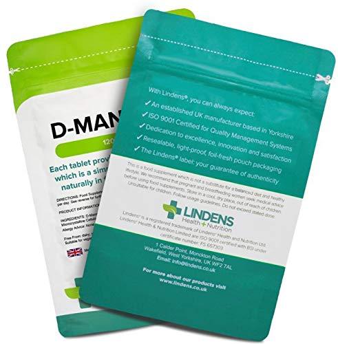 Lindens D-Manosa 1000 mg en comprimidos | 120 Paquete | Cada comprimido proporciona 1000 mg de D-Manosa, una molécula de azúcar simple que llevan frutas, ...
