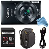 Canon PowerShot ELPH 190 Digital Camera COMPLETE BUNDLE w/10x Optical Zoom and Image Stabilization Wi-Fi & NFC Enabled + ELPH 190 Case + SD Card + USB Cable (Black, 32GB)