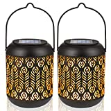 LeiDrail Solar Lights Outdoor Tabletop Lantern for Table Pathway Garden Yard Solar Powered LED Retro Hanging Light Metal Waterproof Warm White Landscape Lighting with Handle- 2 Pack